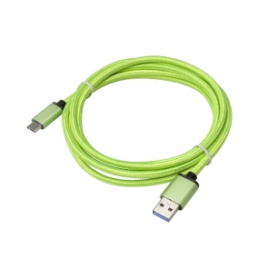 USB 3.1 Type-C to USB 3.0 A Male  Nylon weave Cable - 3.3 Feet-Green
