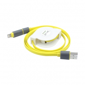 2-in-1 Universal Android and iOS Retractable Lightning to USB Cable-Free Charger - Yellow