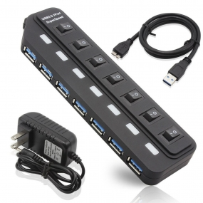 2016 New 7 Port USB 3.0 Hub with 12V/2A Power Adapter  and 3.3 Foot USB 3.0 Cable