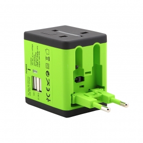 World Wide Travel Charger Adapter Plug Built-in Dual USB FOR All International Plug - Green