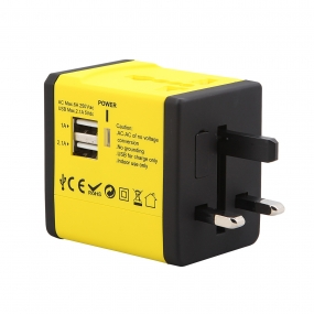 World Wide Travel Charger Adapter Plug Built-in Dual USB FOR All International Plug - Yellow