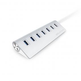 AllSmartLife 7-Port Portable High Speed Aluminum USB Hub with 12 Inch USB 3.0 Cable- Silver
