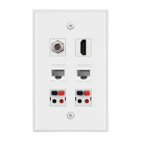Combined panel with  1 F Type 1port HDMI 2cat5E 2 Speaker Jack wall plate