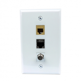 Combined 1 CAT3 and 1 Cat6 Shielded Coupler Keystone and 1 Coax Cable TV- F-Type Wall Plate Decor