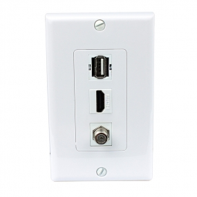 Combination 1 Port HDMI and 1 Port Coax Cable F Type and 1 Port USB A A Decora Wall Plate