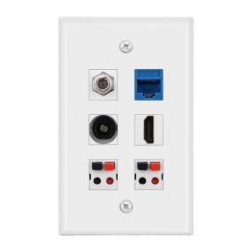 Combined panel with1F Type 1port cat6 1port Toslink 1 Port HDMI  2 Speaker Jack wall plate