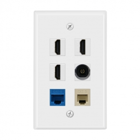 Multi Panel include 3 port HDMI and1 CAT6  and 1CAT3  and1 Port Toslink wall plate