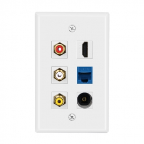 Combined 3xRCA 1xHDMI 1X Cat6 and 1 port Toslink Wall Plate