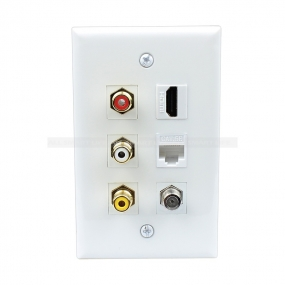 Combined 3xRCA 1xHDMI 1X Cat5e and 1xCoax Cable TV Port Wall Plate