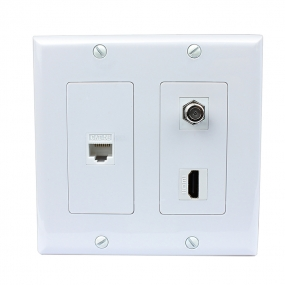 2 Gang decorative Wall Plate 1 Port HDMI 1 Port TV F Type 1 Port Cat5e Ethernet