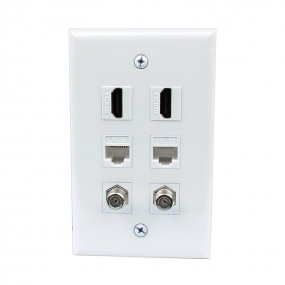 Easy installation 2 Port HDMI and 2 Port CAT5e and 2 port F type wall plate covers