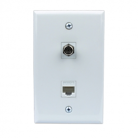 1 Coax F Type and Cat5e Ethernet Port Wall Plate White