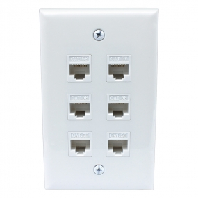 Home Decoration 6 Port Cat5e Female-Female Wall Plates