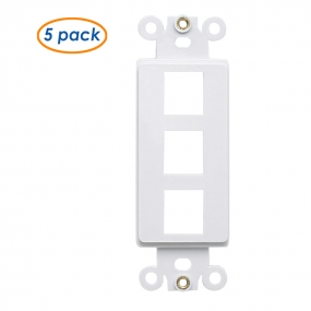 (5 Pack) QuickPort Decora Wall Plate Insert for 3-Port Keystone Jack - White