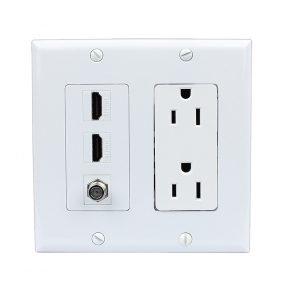 Combination 15 Amp Power Outlet 2 Port HDMI 1 Port Coax Decora Wall Plate
