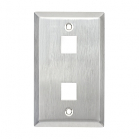 Stainless steel Keystone Wall Plate 1-Gang,RJ45/CAT5 Face Plate (2 Ports)