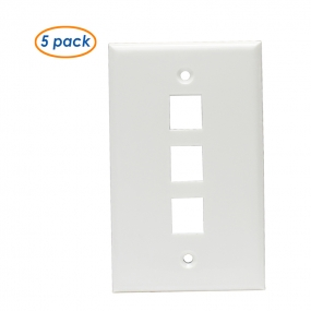 (5 Pack)  Wall Plate with 3-Port Keystone Jack in White