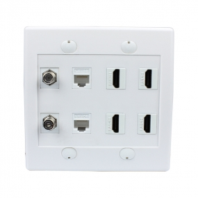 Combination 2 Port Coax Cable TV F Type 2 Cat5e Ethernet and 4 HDMI Wall Plate