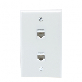 Ethernet Network Cat5e Wall Plate - Dual (2 Port) RJ45 Connector Socket Wiring Plug Jack Decorative