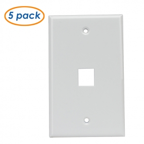 (5 Pack) Wall Plate with 1-Port Keystone Jack in White
