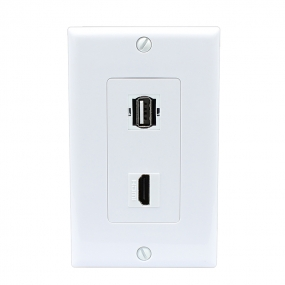 Combination 1 USB A/A and 1 HDMI Port Wall Plate White