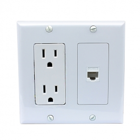 New portable installation 15 Amp electrical outlets and 1 Port Cat5e Ethernet Wall Plate