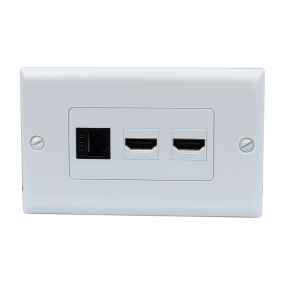 Combination 1 Cat6 Black Ethernet Port and 2 HDMI Female Decorative Wall Plate
