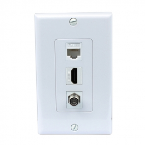 1 Port HDMI and 1 Port Coax Cable TV F Type and 1 Port Cat5e Ethernet White Decora Wall Plate Decora