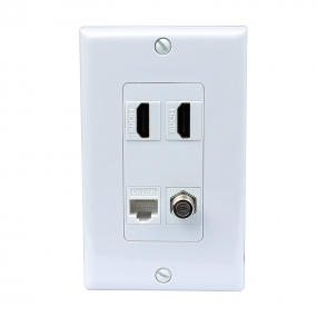 Combined 2 x HDMI and 1 x Ethernet Cat5e and 1 x Coax Cable TV F Type Port Wall Plate White