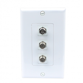 New easy Removable installation 3 Port Coax Cable TV F Type Wall Plate