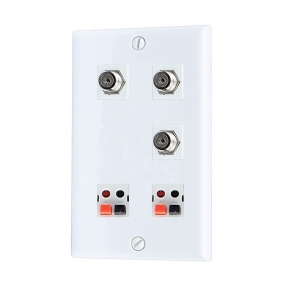 Home Improvement 3 Port Coax Cable TV F Type 2 port Speaker Wall Plates