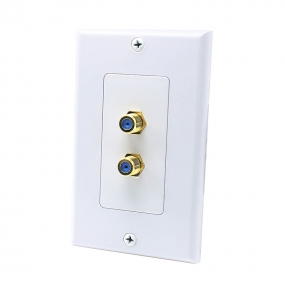 2 Port F jack connector Home Theater system Wall plate For USA