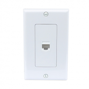 NEW 1 Port Cat6 Female-Female Wall Plate White