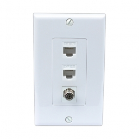 Home Improvement 1 Port Coax Cable TV F Type 2 Port Cat6 Ethernet White Decora Wall Plates