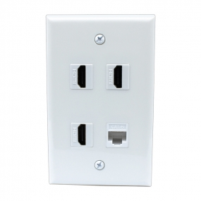 Combination 3 Port HDMI 1 Port Cat6 Ethernet White Wall Plate