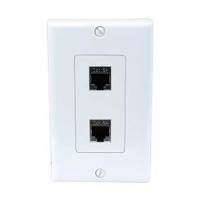 The New 2 Port Shielded CAT 6A Wall Plate for high Performance Cat6a/RJ45/ Shielded Ethernet Cable