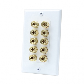 10 Port Binding Post Home Theater system Wall plate For USA