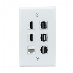 New easy installation 2 HDMI 1 Cat5e Ethernet White and 3 USB A-A Wall Plate