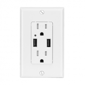 2.1 AMP Dual USB Charger Receptacle 15A Duplex Tamper Resistant Receptacle (White)