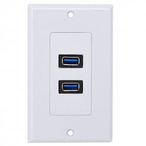 New design high speed USB 3.0 A-A Wall plate panel with 2 ports charging with all usb devices white