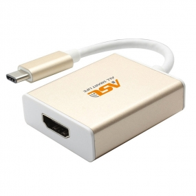 Type C to HDMI Adapter 4Kith Aluminum Case Supporting 4K HDTV for New 12 Inch Macbook - Gold