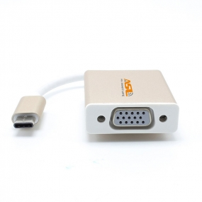 USB 3.1 Type C to VGA 1080p Hdtv Adapter Cable Aluminium Case for 2015 New 12 Inch Macbook - Golden