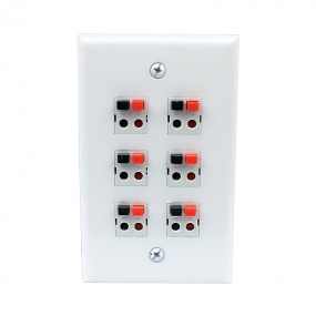 6 Port Speaker Jack Single Gang White Wall Plate for Home Theater