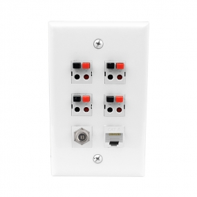 4Port Speaker Jack Single1 Coax Cable TV- F-Type 1cat6 Gang White Wall Plate for Home Theater
