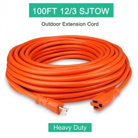 Outdoor Extension Cord 100ft 12/3C, Allsmartlife Vinyl Heavy Duty Outdoor/Indoor Power Extension Cable 100' 12 Gauge - 15A 125V 1875Watt SJTOW (Orange)