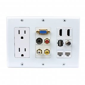 Multipurpose design 2x Power Outlet 2x HDMI 1x USB 3x RCA 2x Cat6 1x 3.5MM 1xVGA 1xF type Wall Plate