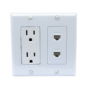 15 Amp electrical outlets and 2 Port Cat5e Ethernet Decora Type Wall Plate