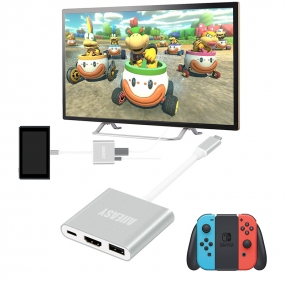 USB-C to HDMI Hub Adapter for Nintendo Switch, Allsmartlife HDMI Converter Dock for Nintendo Switch with USB and USB C Charging Port (Aluminum Case, Silver)