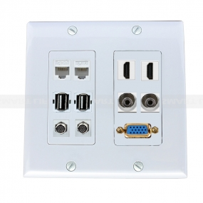 Multifunctional combination 2xcat6,2xUSB 2.0,2XCoax Cable F Type,2XHDMI,2X3.5MM,1 port VGA Wall Plate