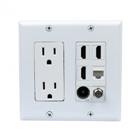 Multifunctional combination 2x Power Outlet 3x HDMI 1x Coax 1x Cat5E 1x Toslink Wall Plate White